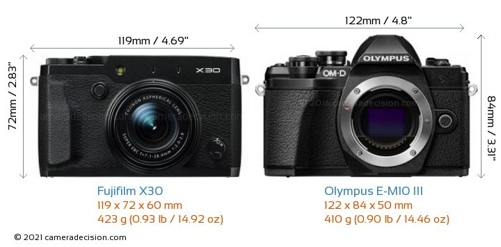 Fujifilm X30 vs Olympus E-M10 MIII Camera Size Comparison - Front View