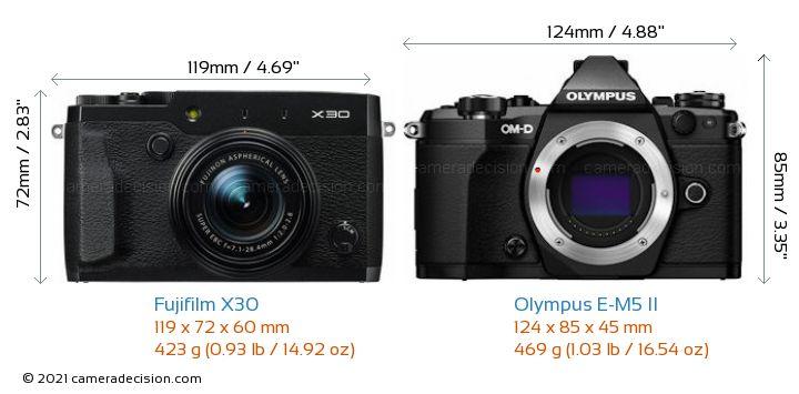 Fujifilm X30 vs Olympus E-M5 II Camera Size Comparison - Front View