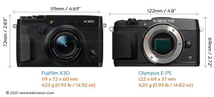 Fujifilm X30 vs Olympus E-P5 Camera Size Comparison - Front View