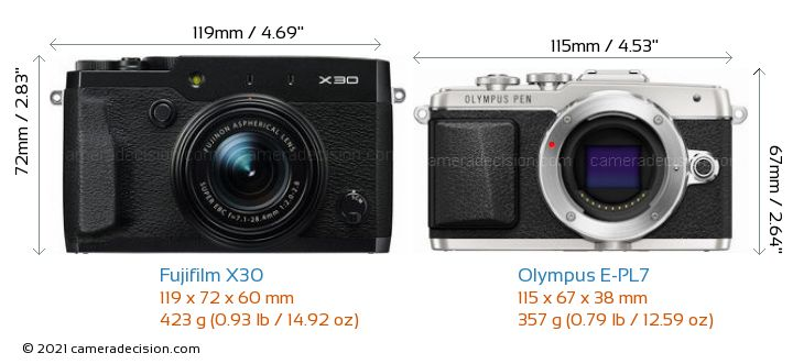 Fujifilm X30 vs Olympus E-PL7 Camera Size Comparison - Front View