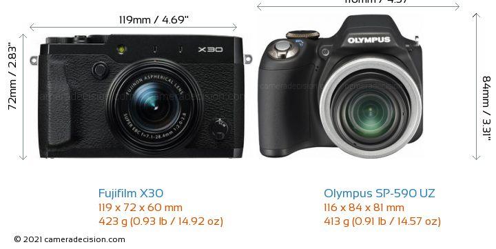 Fujifilm X30 vs Olympus SP-590 UZ Camera Size Comparison - Front View