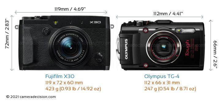 Fujifilm X30 vs Olympus TG-4 Camera Size Comparison - Front View