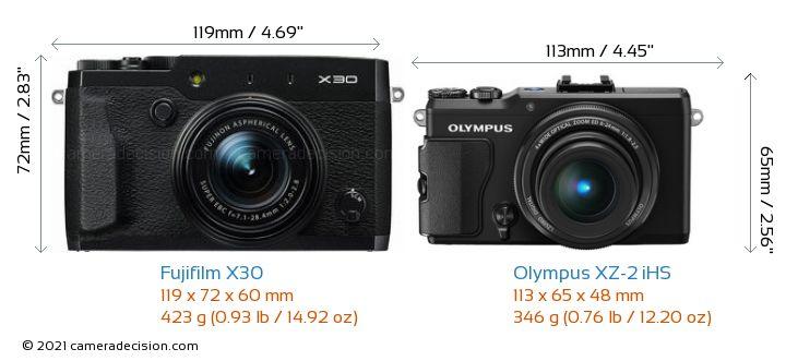 Fujifilm X30 vs Olympus XZ-2 iHS Camera Size Comparison - Front View