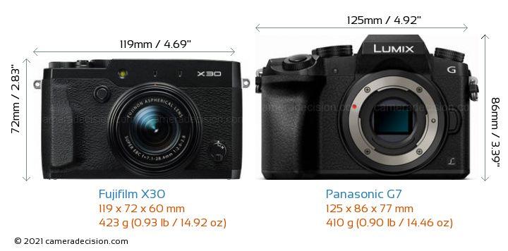 Fujifilm X30 vs Panasonic G7 Camera Size Comparison - Front View