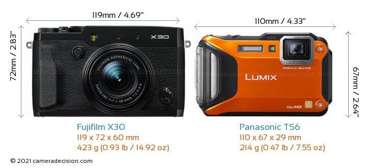 Fujifilm X30 vs Panasonic TS6 Camera Size Comparison - Front View