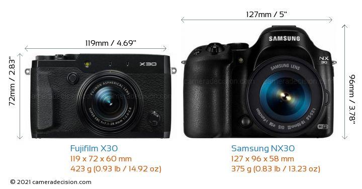 Fujifilm X30 vs Samsung NX30 Camera Size Comparison - Front View