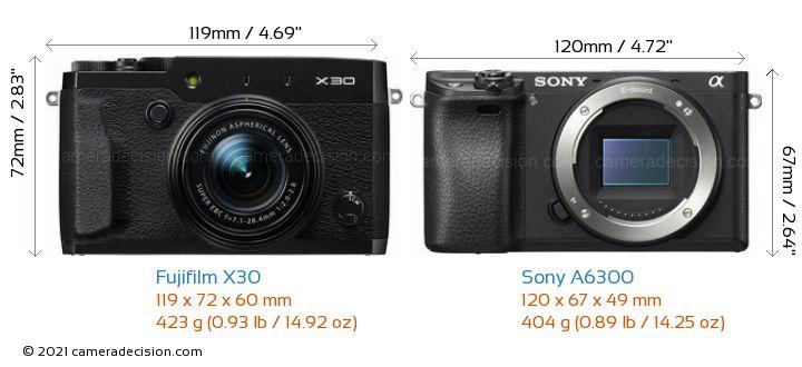 Fujifilm X30 vs Sony A6300 Camera Size Comparison - Front View