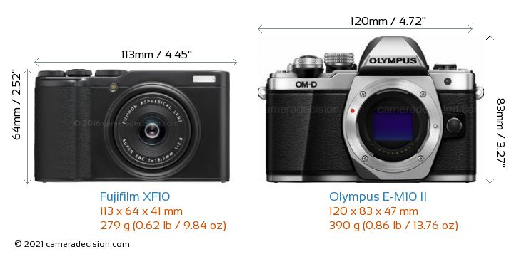 Fujifilm XF10 vs Olympus E-M10 II Camera Size Comparison - Front View