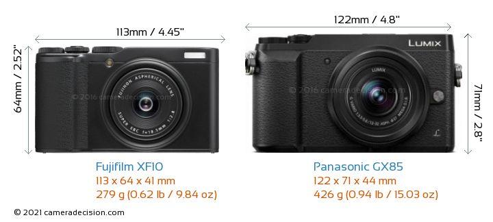 Fujifilm XF10 vs Panasonic GX85 Camera Size Comparison - Front View