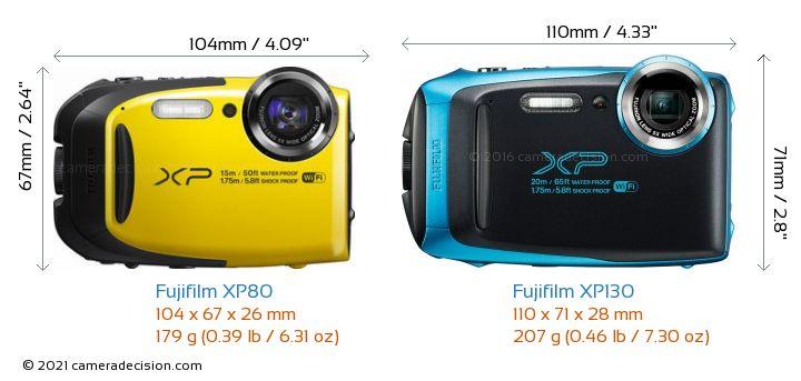 Fujifilm XP80 vs Fujifilm XP130 Camera Size Comparison - Front View