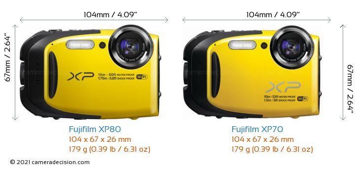 Fujifilm XP80 vs Fujifilm XP70 Camera Size Comparison - Front View