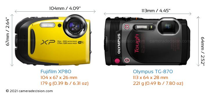 Fujifilm XP80 vs Olympus TG-870 Camera Size Comparison - Front View