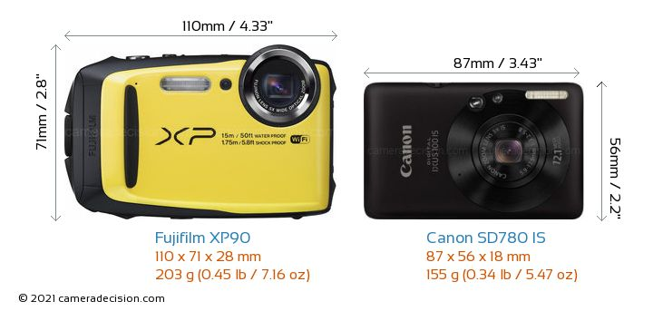 Fujifilm XP90 vs Canon SD780 IS Camera Size Comparison - Front View