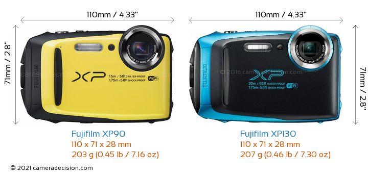 Fujifilm XP90 vs Fujifilm XP130 Camera Size Comparison - Front View