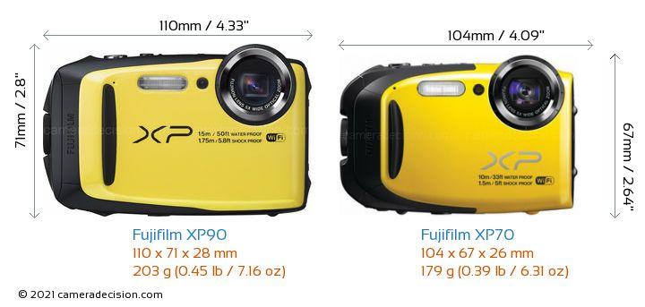 Fujifilm XP90 vs Fujifilm XP70 Camera Size Comparison - Front View