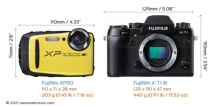 Fujifilm XP90 vs Fujifilm X-T1 IR Camera Size Comparison - Front View
