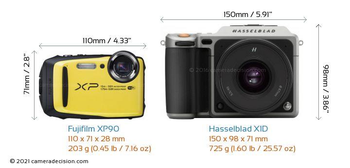 Fujifilm XP90 vs Hasselblad X1D Camera Size Comparison - Front View
