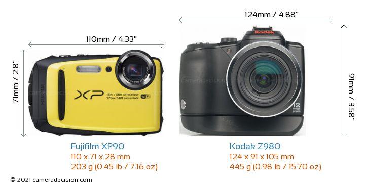 Fujifilm XP90 vs Kodak Z980 Camera Size Comparison - Front View