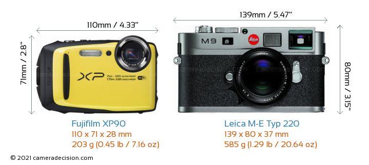 Fujifilm XP90 vs Leica M-E Typ 220 Camera Size Comparison - Front View