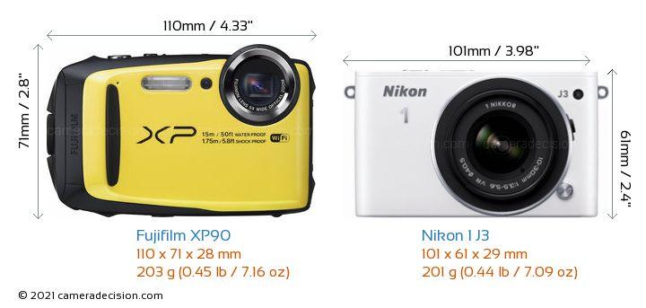 Fujifilm XP90 vs Nikon 1 J3 Camera Size Comparison - Front View