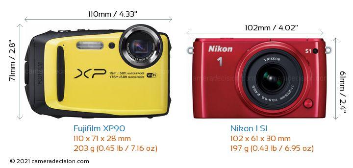 Fujifilm XP90 vs Nikon 1 S1 Camera Size Comparison - Front View