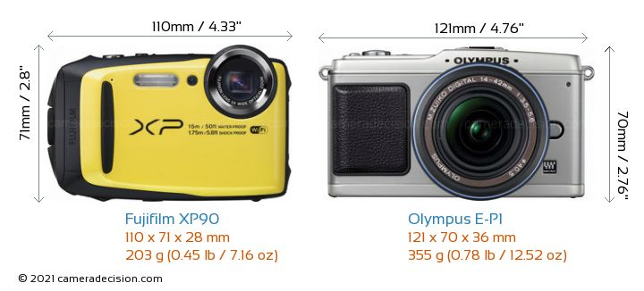 Fujifilm XP90 vs Olympus E-P1 Camera Size Comparison - Front View