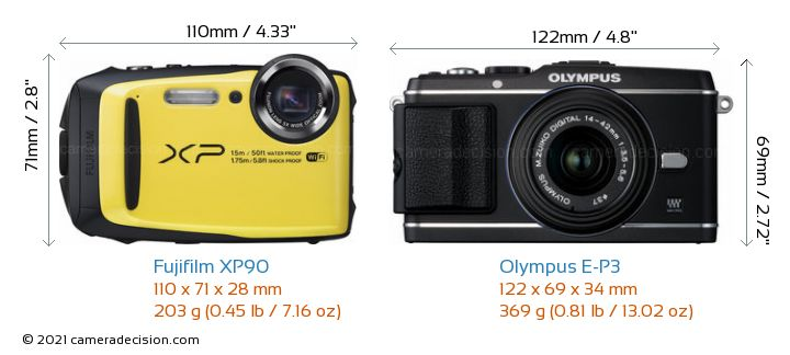 Fujifilm XP90 vs Olympus E-P3 Camera Size Comparison - Front View