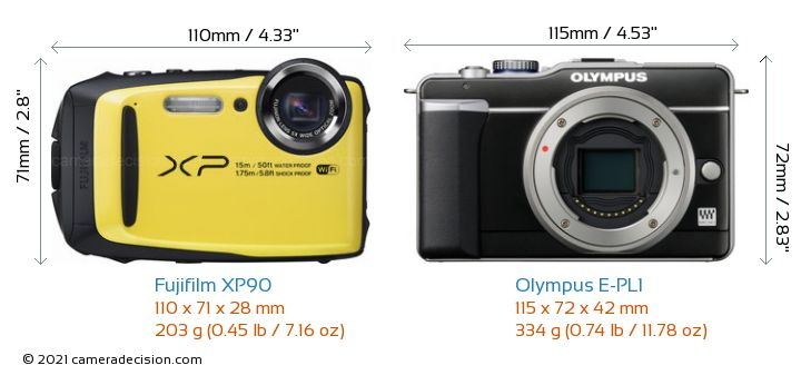 Fujifilm XP90 vs Olympus E-PL1 Camera Size Comparison - Front View