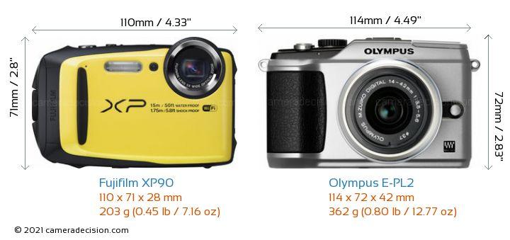 Fujifilm XP90 vs Olympus E-PL2 Camera Size Comparison - Front View