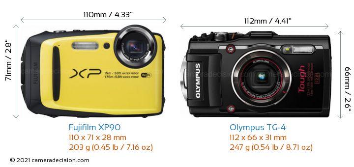 Fujifilm XP90 vs Olympus TG-4 Camera Size Comparison - Front View