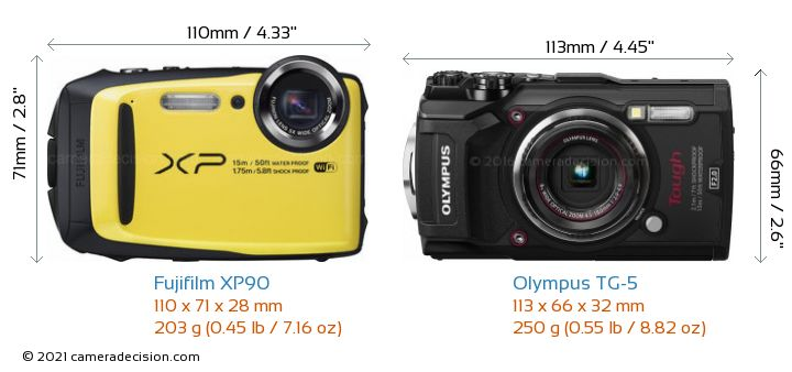 Fujifilm XP90 vs Olympus TG-5 Camera Size Comparison - Front View