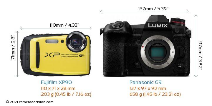 Fujifilm XP90 vs Panasonic G9 Camera Size Comparison - Front View