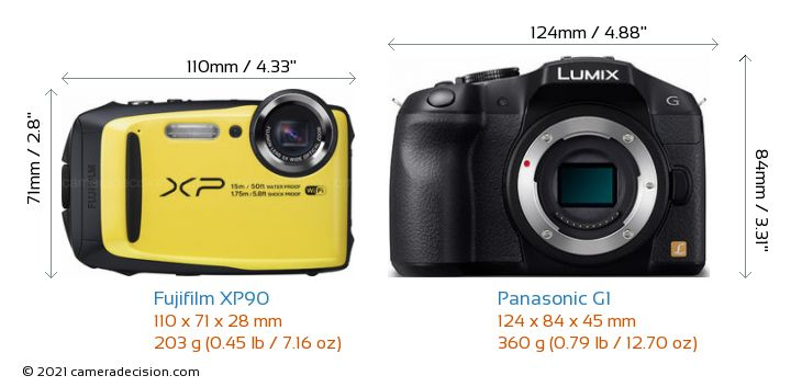 Fujifilm XP90 vs Panasonic G1 Camera Size Comparison - Front View