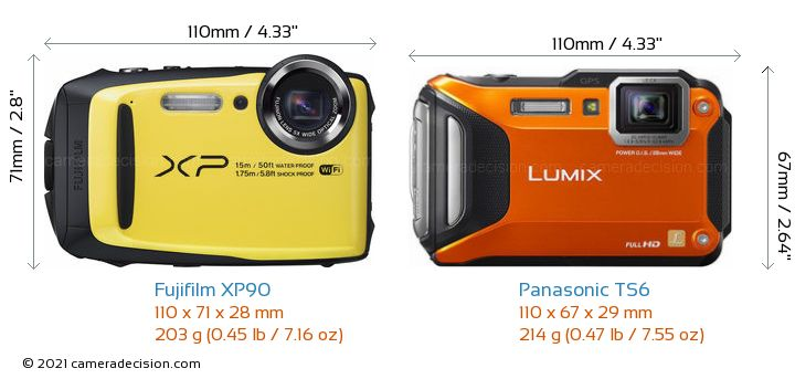 Fujifilm XP90 vs Panasonic TS6 Camera Size Comparison - Front View