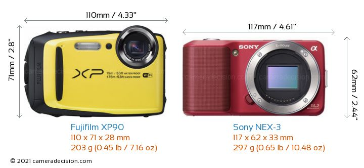 Fujifilm XP90 vs Sony NEX-3 Camera Size Comparison - Front View
