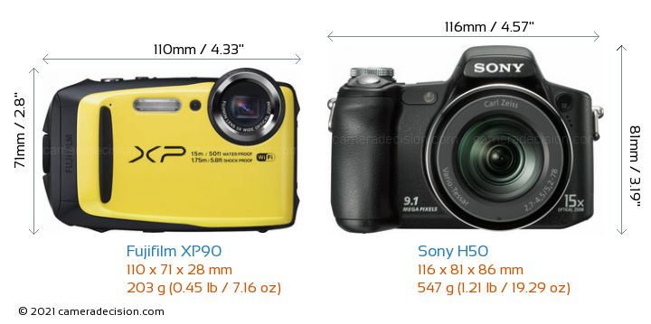 Fujifilm XP90 vs Sony H50 Camera Size Comparison - Front View
