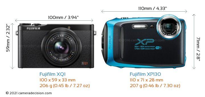 Fujifilm XQ1 vs Fujifilm XP130 Camera Size Comparison - Front View