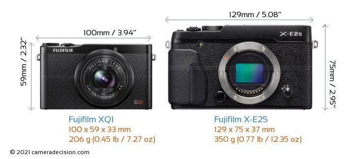 Fujifilm XQ1 vs Fujifilm X-E2S Camera Size Comparison - Front View