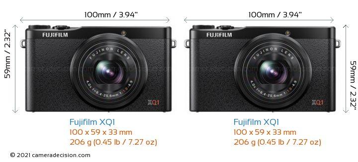 Fujifilm XQ1 vs Fujifilm XQ1 Camera Size Comparison - Front View