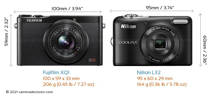 Fujifilm XQ1 vs Nikon L32 Camera Size Comparison - Front View