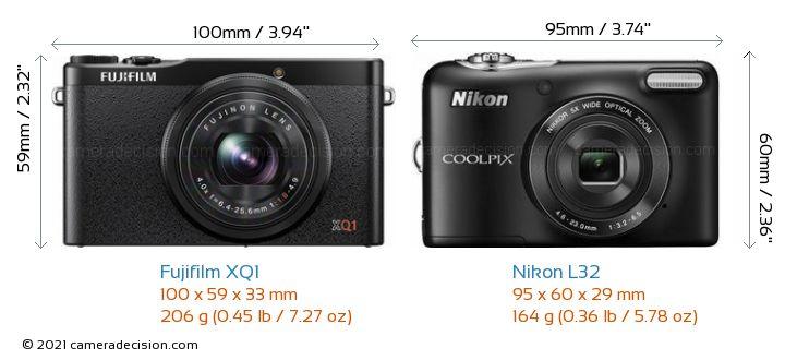 Fujifilm XQ1 vs Nikon L32 Camera Size Comparison - Front View