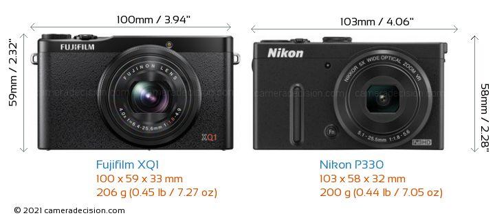 Fujifilm XQ1 vs Nikon P330 Camera Size Comparison - Front View
