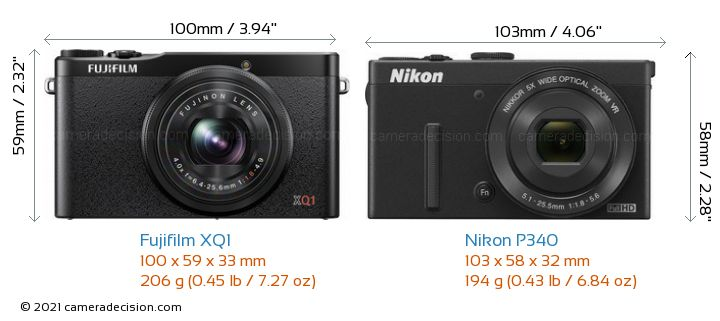 Fujifilm XQ1 vs Nikon P340 Camera Size Comparison - Front View
