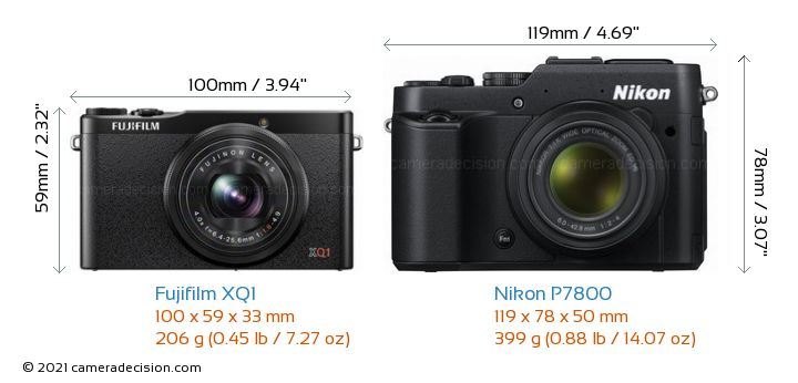 Fujifilm XQ1 vs Nikon P7800 Camera Size Comparison - Front View