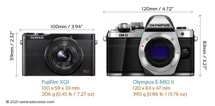 Fujifilm XQ1 vs Olympus E-M10 II Camera Size Comparison - Front View