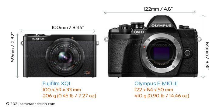 Fujifilm XQ1 vs Olympus E-M10 MIII Camera Size Comparison - Front View