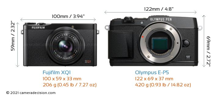 Fujifilm XQ1 vs Olympus E-P5 Camera Size Comparison - Front View