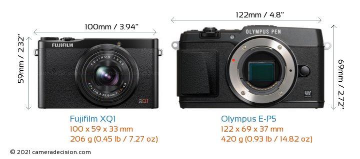 Fujifilm XQ1 vs Olympus E-P5 Camera Size Comparison - Front View