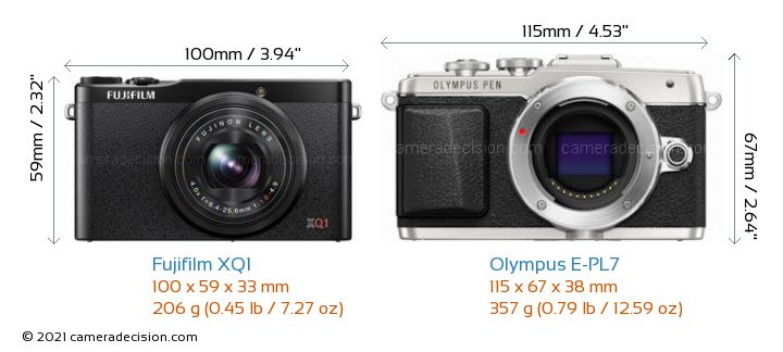 Fujifilm XQ1 vs Olympus E-PL7 Camera Size Comparison - Front View