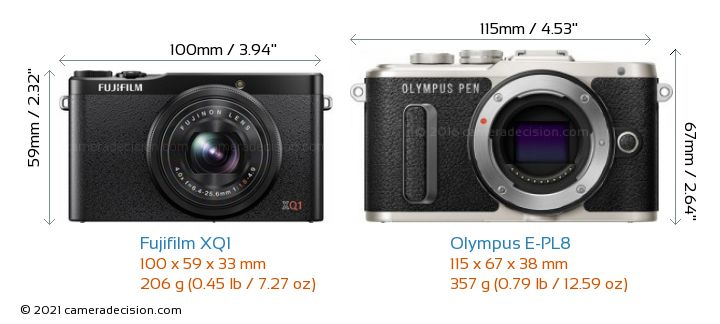 Fujifilm XQ1 vs Olympus E-PL8 Camera Size Comparison - Front View